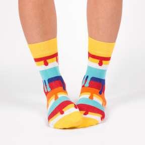 """Цветные дизайнерские носки с потёками """"Бурано"""" G13"""