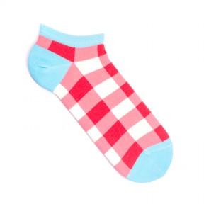Носки в красную клетку короткие MK1