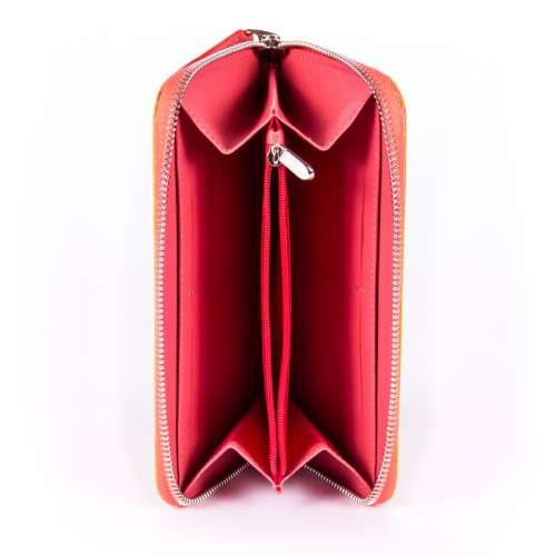 Женское портмоне из цветной кожи на молнии