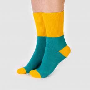 Бирюзово-оранжевые тёплые носки с высокой резинкой CH3